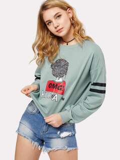 Drop Shoulder Striped Sleeve Graphic Pullover