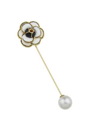 White Enamel With Simulated-Pearl Flower Brooch