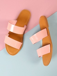 Patent Double Band Slide Sandal BLUSH