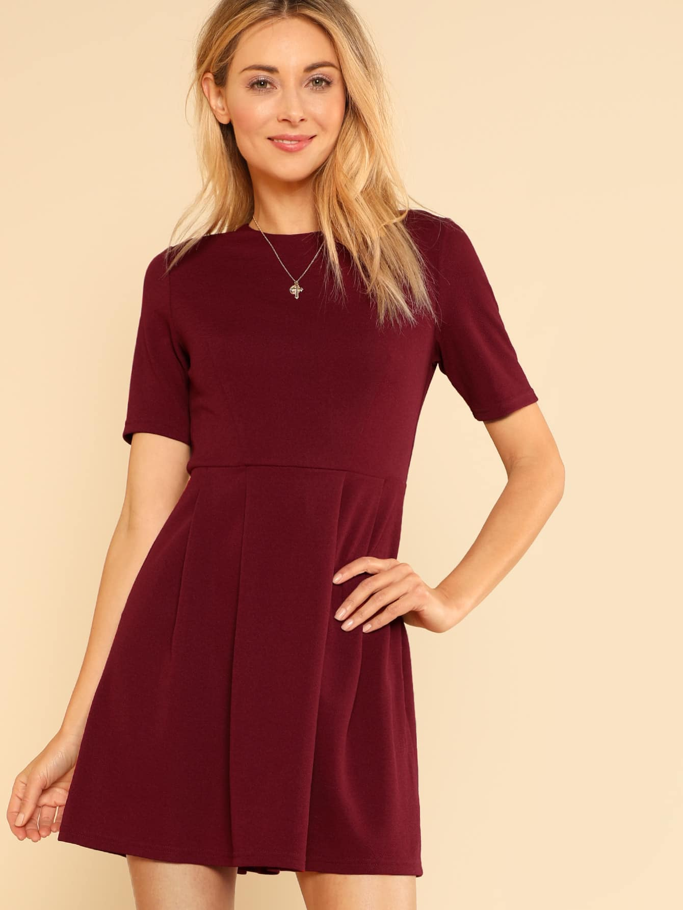 Fit And Flare Ribbed Dress zip back fit and flare splicing dress