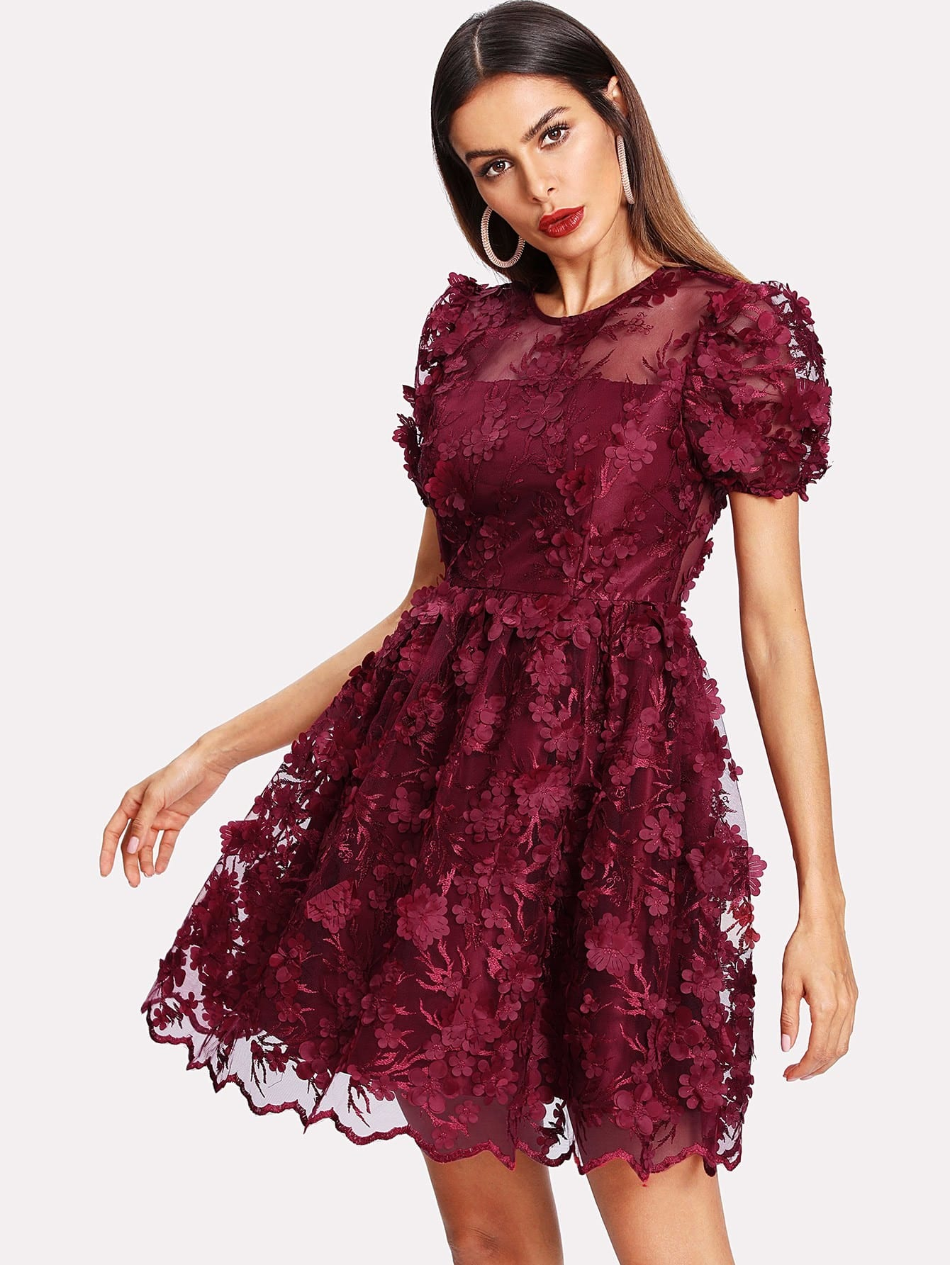 Floral Applique Puff Sleeve Mesh Overlay Dress floral print puff sleeve fit