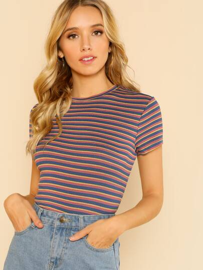 Tri Color Stripe Short Sleeve Top PINK YELLOW BLUE