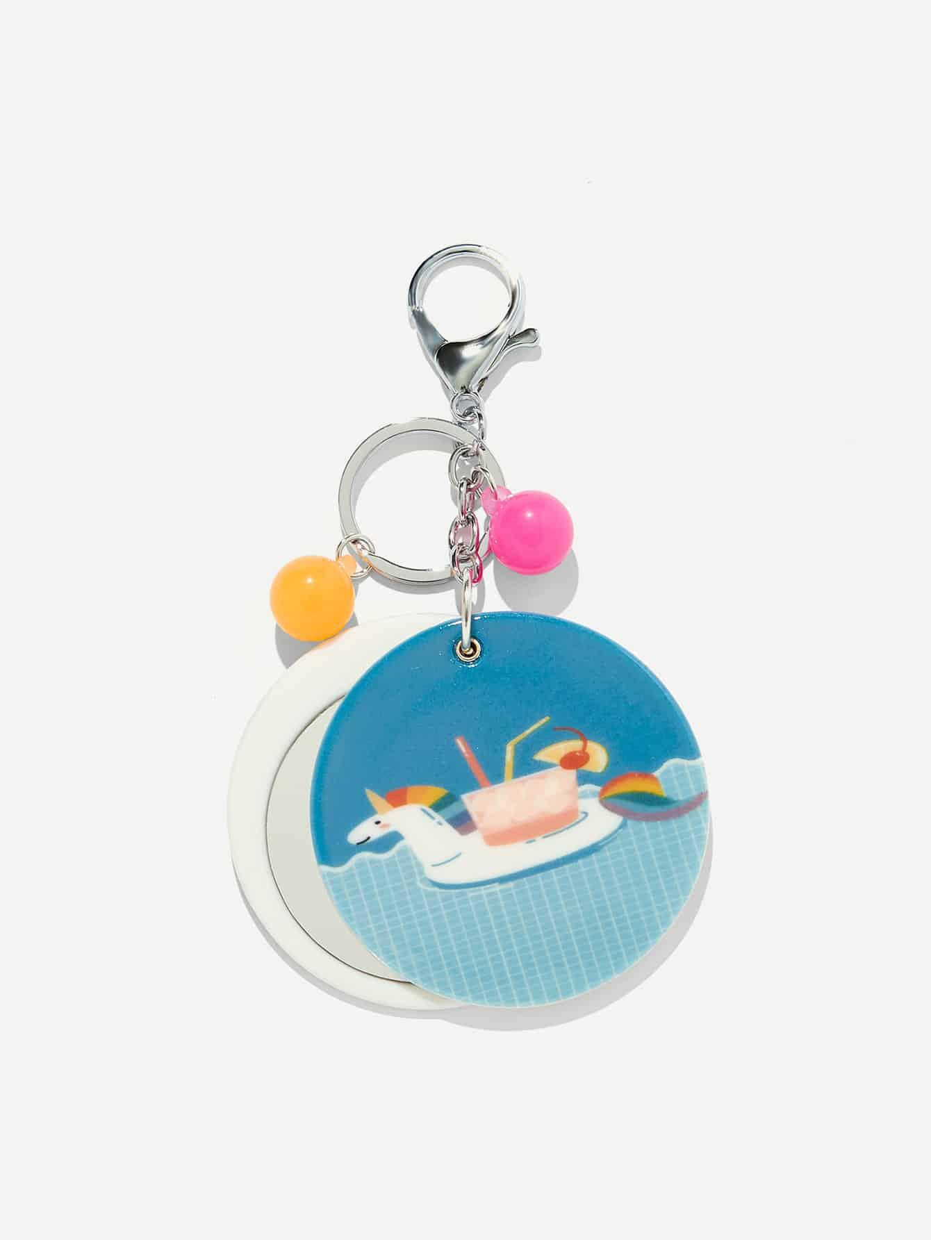 Random Color Ball Cartoon Round Keychain random color ball flamingo round keychain