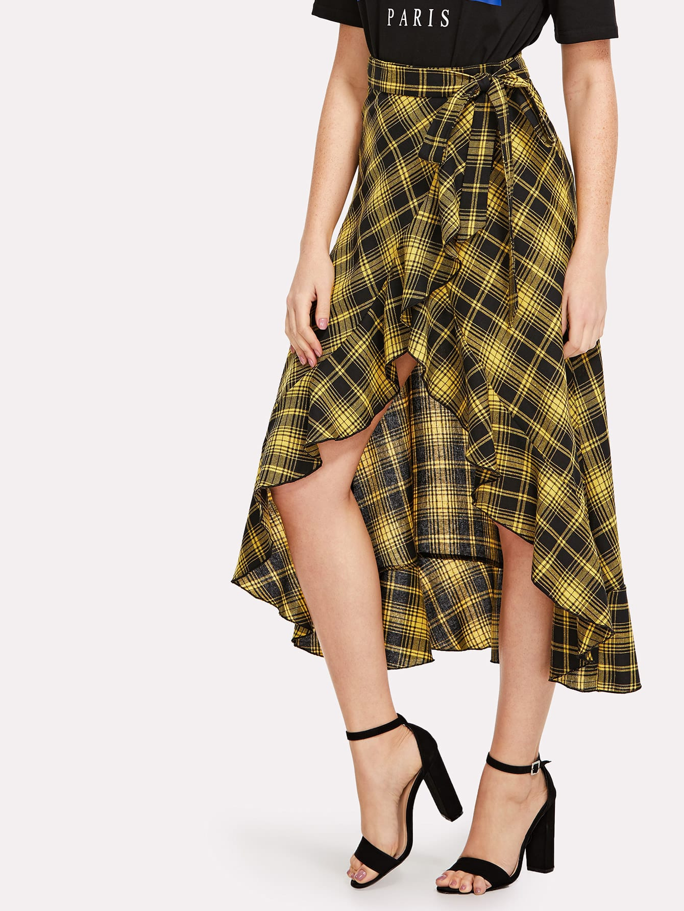 Knot Waist Asymmetrical Ruffle Hem Plaid Skirt knot waist asymmetrical ruffle hem plaid skirt