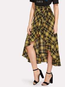 Knot Waist Asymmetrical Ruffle Hem Plaid Skirt