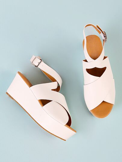 Thick Criss Cross Strappy Wedge Sandal WHITE