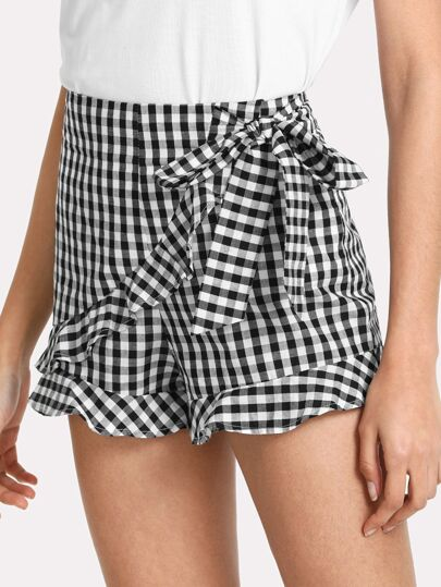 Tie Waist Frill Trim Plaid Shorts