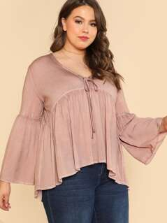 Plus Long Bell Sleeve Wash Top with Front Tie DUSTY ROSE