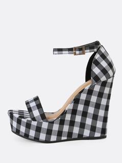 Gingham Single Band Platform Wedge Sandal with Ankle Strap BLACK