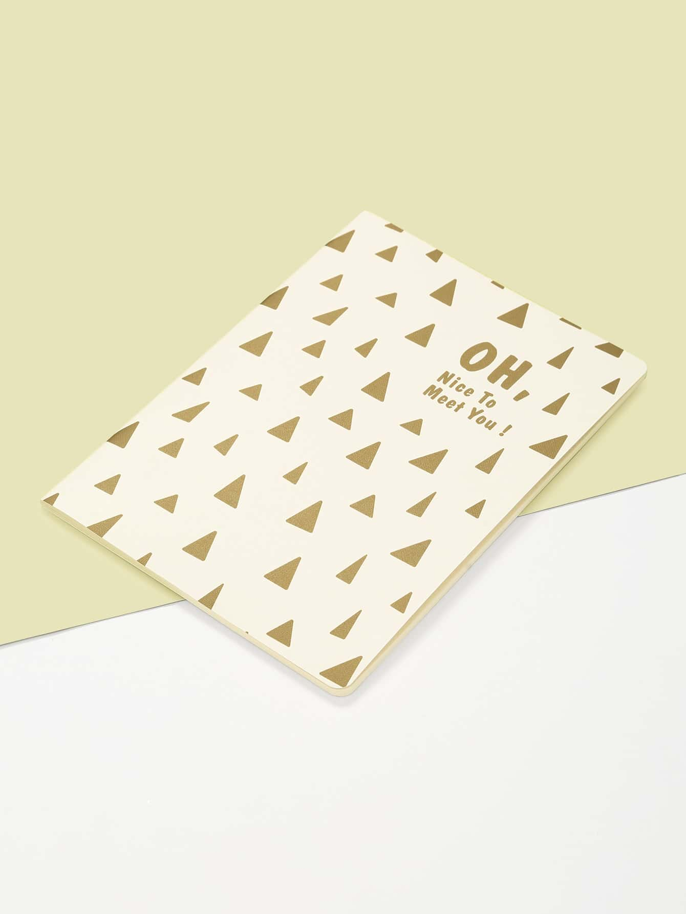Triangle & Slogan Print Cover Notebook jungle print cover notebook