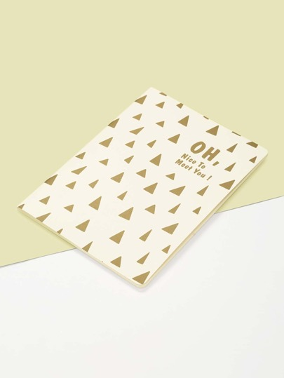 Triangle & Slogan Print Cover Notebook