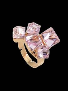 Pink Crystal  Geometric Finger Ring