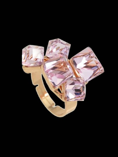 Pink Crystal  Geometric Finger Ring