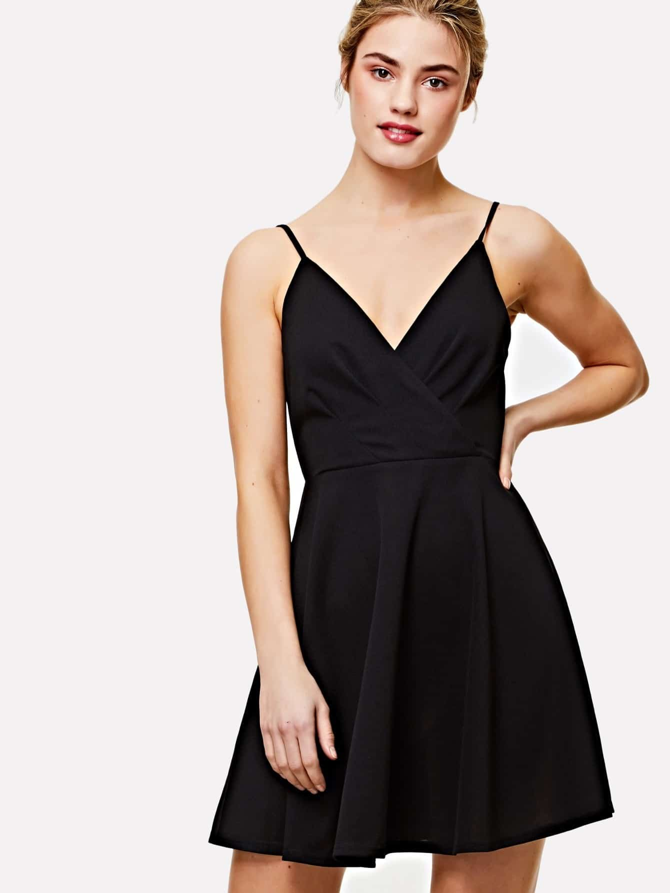 Open Back Fit & Flared Surplice Cami Dress open back fit