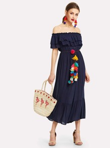 Flounce Layered Neckline Dress With Tassel Belt