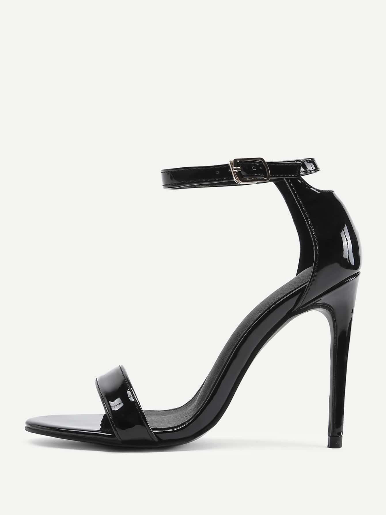 Peep Toe Ankle Strap Stiletto Heels