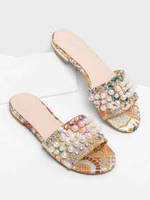 Faux Pearl Satin Flat Sandals