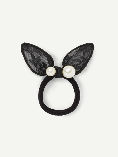 Rabbit Ear Pearl Detail Hair Tie