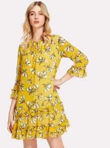 Tie Neck Ruffle Trim Floral Dress