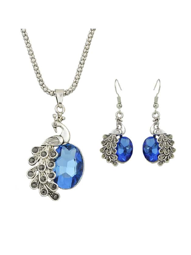 Blue Jewelry Set Peacock Necklace And Earrings