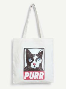 Cat Print Shoulder Bag