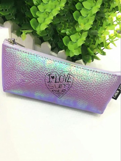 Letter Print Metallic Pencil Case