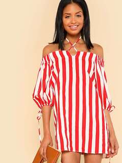 Off Shoulder Puff Sleeve Stripe Dress with Drawstring Detail CREAM RED