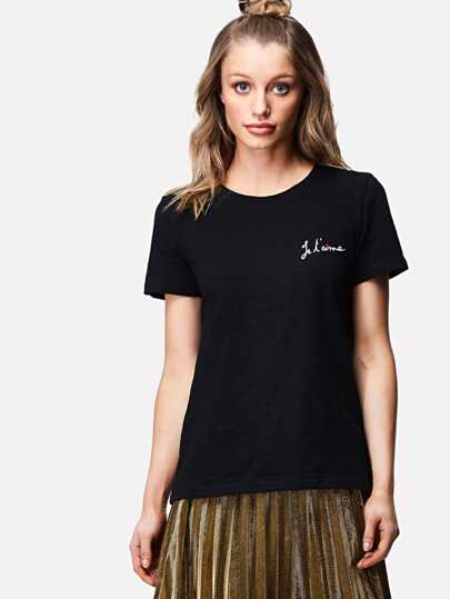 Letter And Heart Embroidery Tee