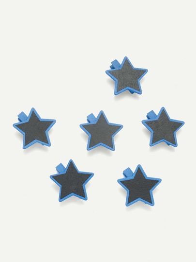 Star Shape Blackboard Wooden Clips 6Pcs
