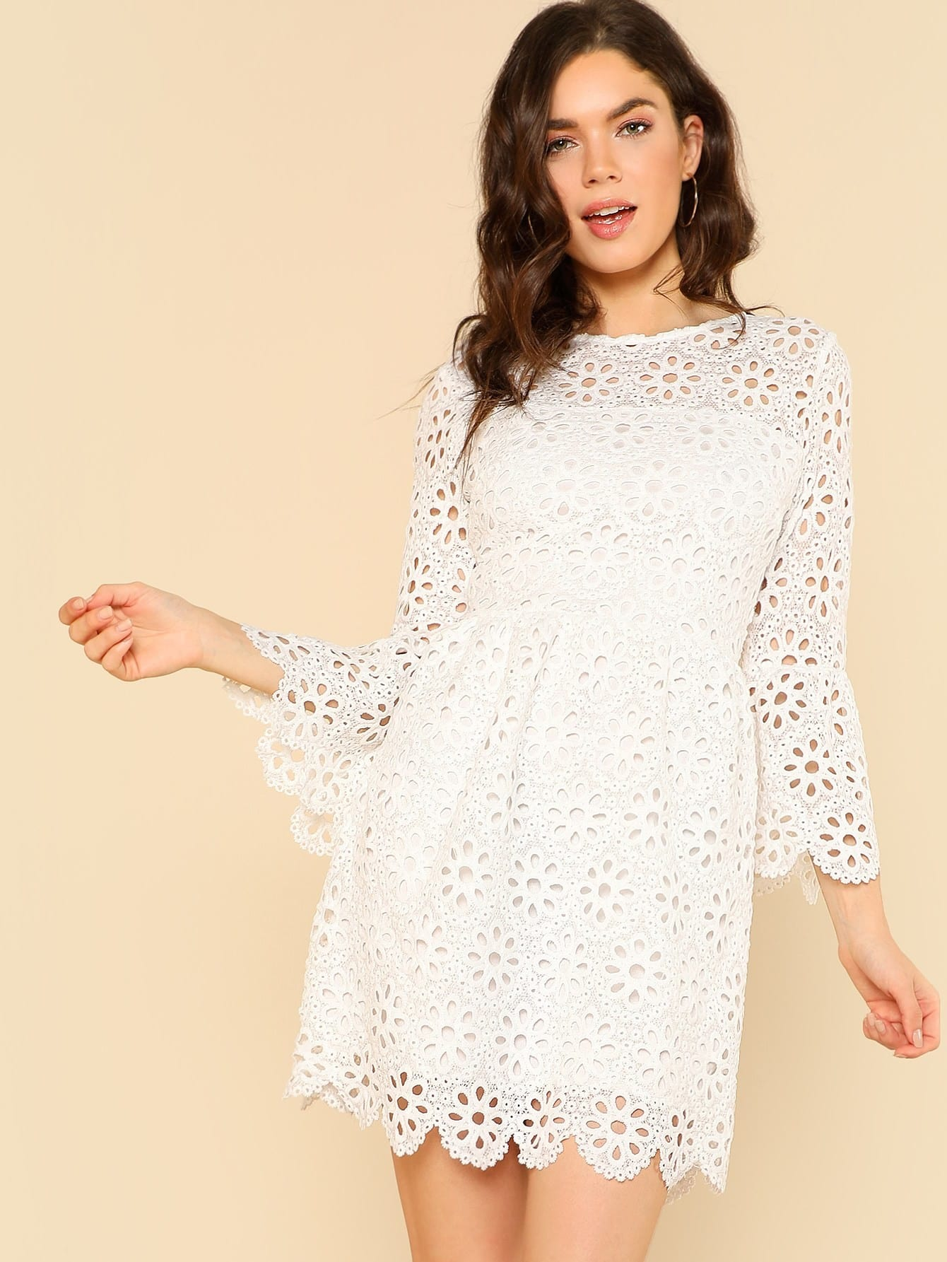 Trumpet Sleeve Eyelet Lace Scallop Dress блуза sportmax code sportmax code sp027ewadsc6