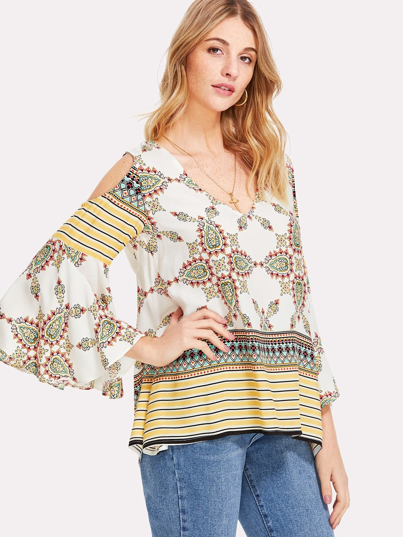 Cold Shoulder Ornate Print Top cactus print cold shoulder top