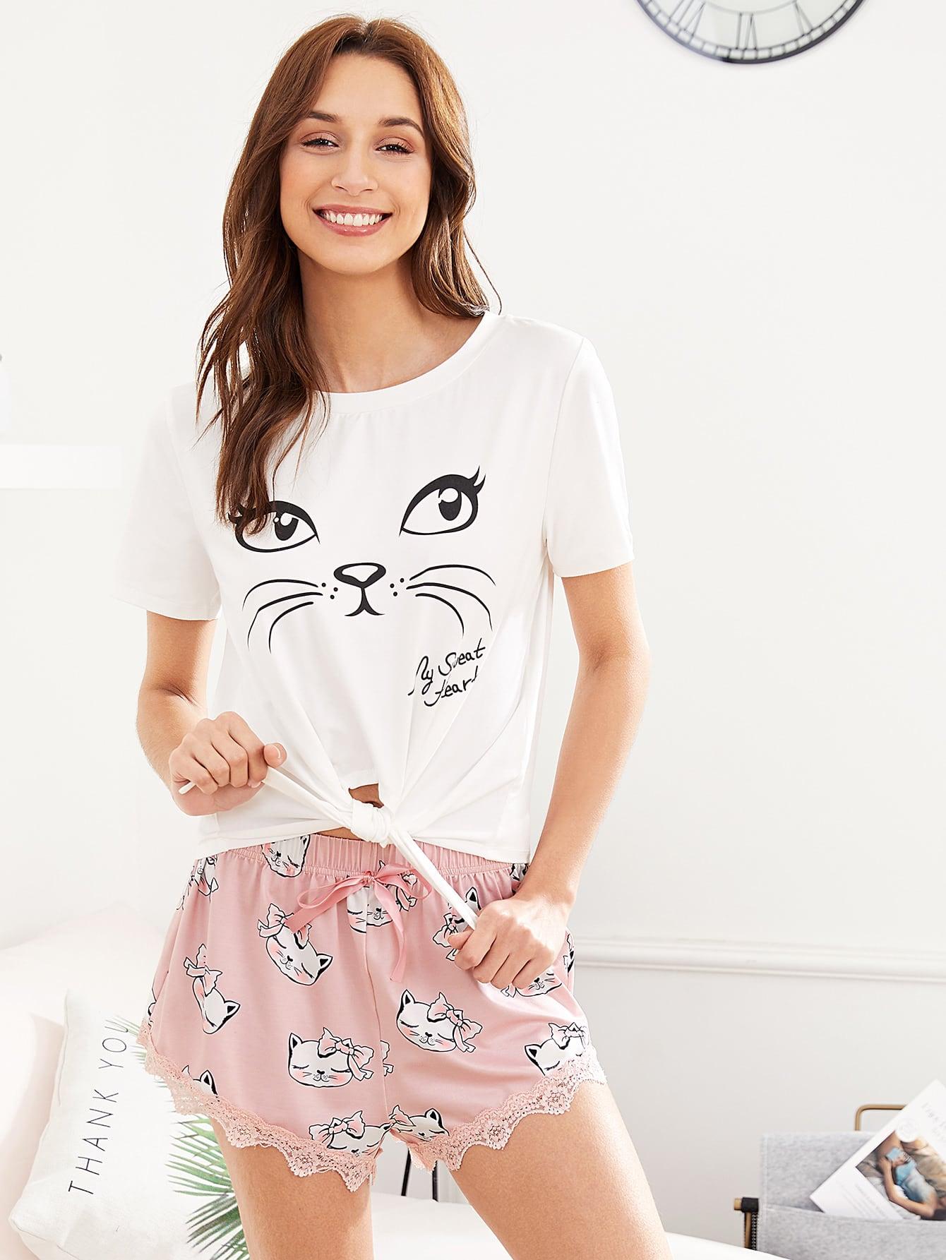 Knot Hem Top & Dog Print Lace Hem Shorts PJ Set dog print top