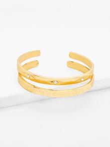 Rhinestone Detail Cuff Bracelet Set