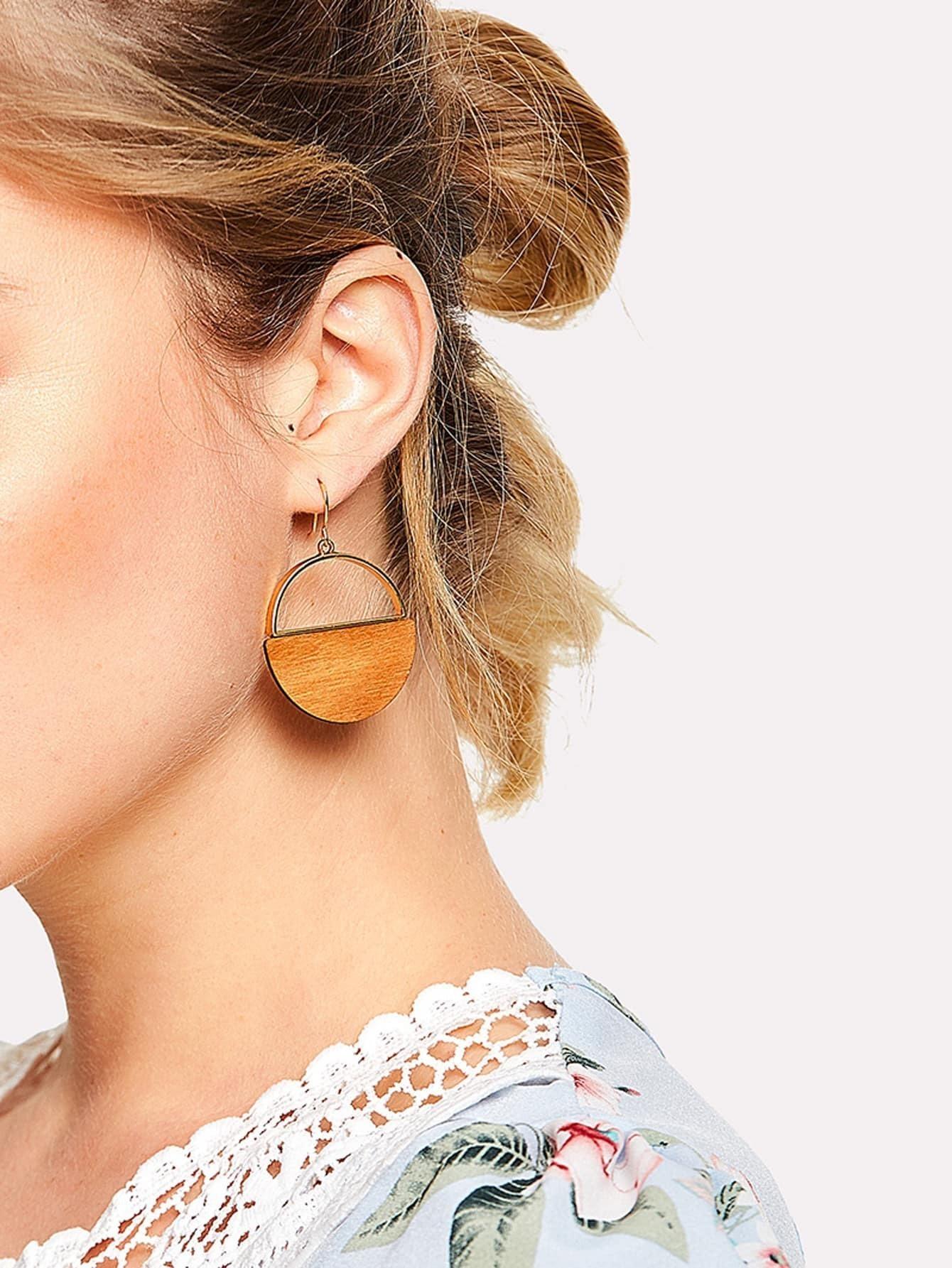 Two Tone Round Drop Earrings two tone metal drop earrings
