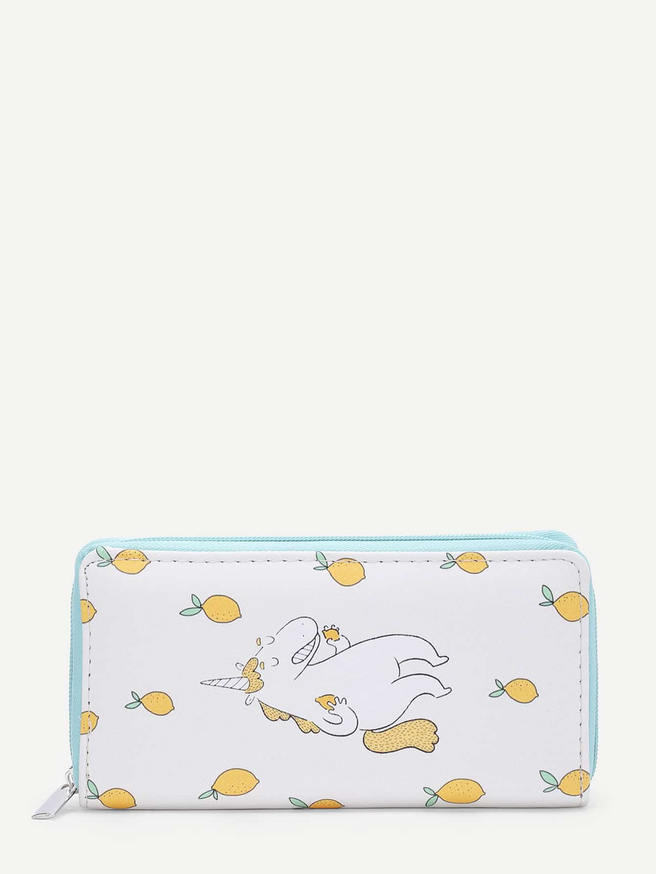 Horse & Lemon Print PU Purse flower print pu purse