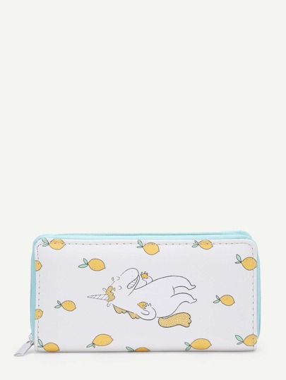 Horse & Lemon Print PU Purse