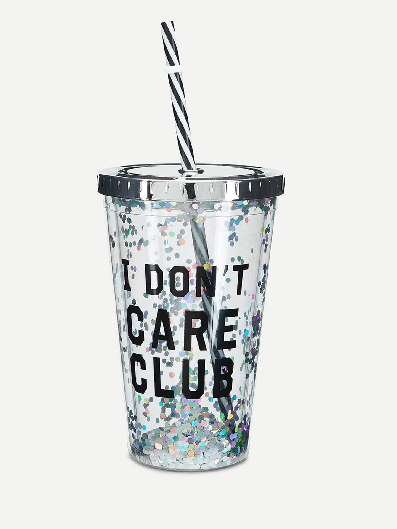 Letter Print Cup With Lid & Straw drinkware18012226