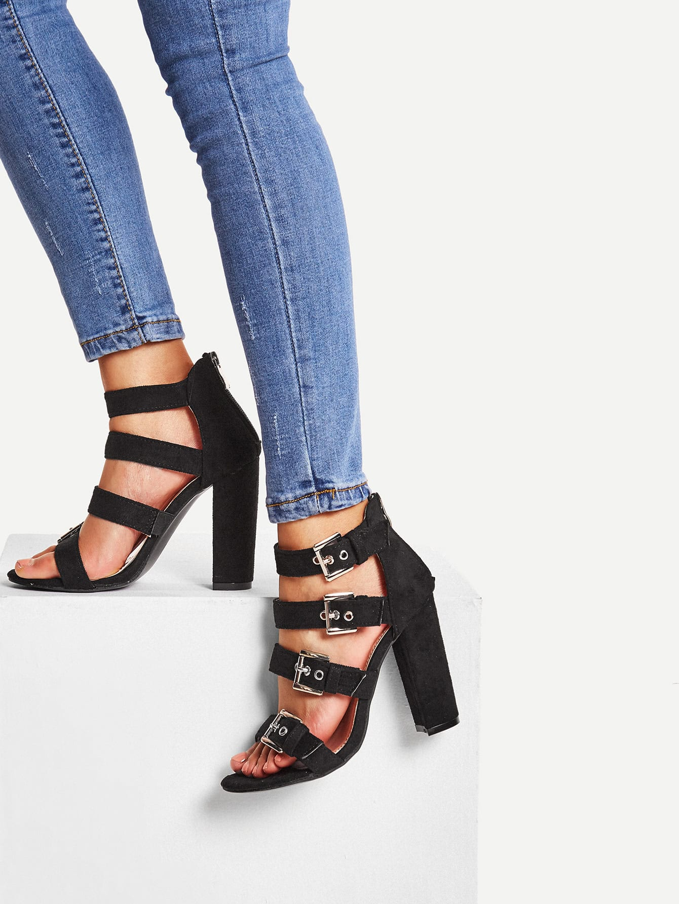Block Heeled Buckle Strap Pumps