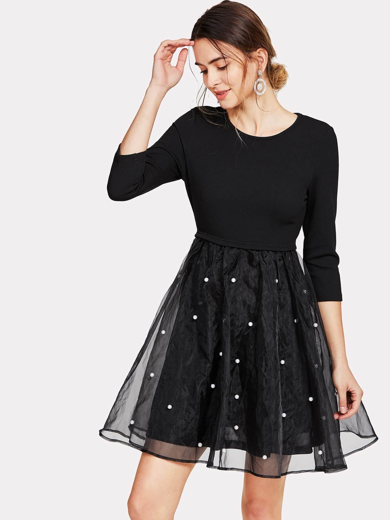 Pearl Beaded Mesh Overlay Fit & Flare Dress lace overlay fit and flare dress
