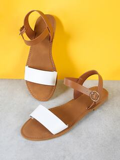 Sling Back Ankle Strap Single Band Flat Sandal WHITE NATURAL