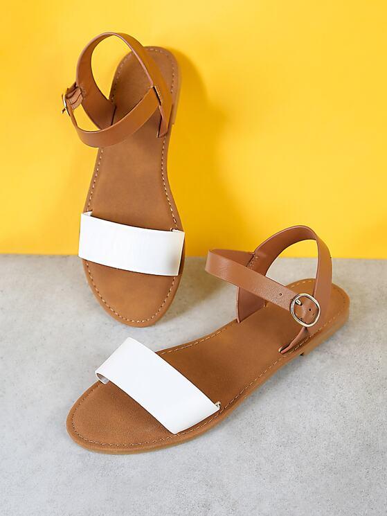 7772a2a4ed3 Sling Back Ankle Strap Single Band Flat Sandal WHITE NATURAL ...