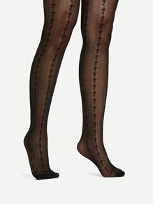 Mini Flower Detail Pantyhose Stockings