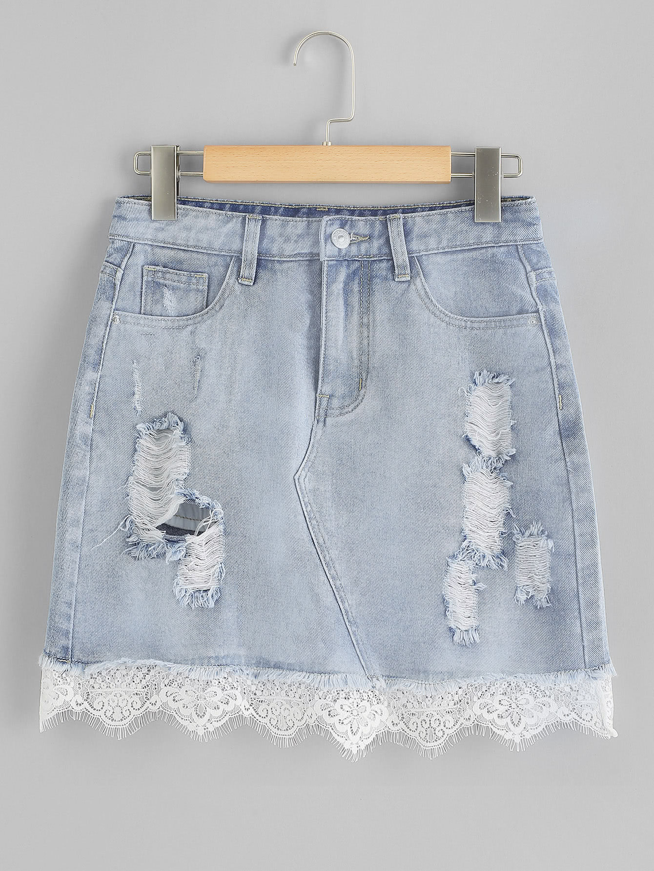 Lace Insert Ripped Denim Skirt lace insert fitted faux leather skirt
