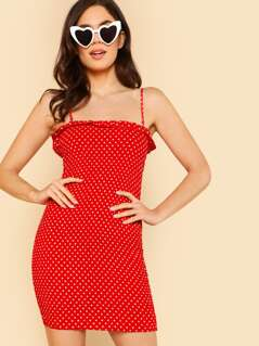 Polka Dot Ruffle Trim Shirred Tube Dress RED