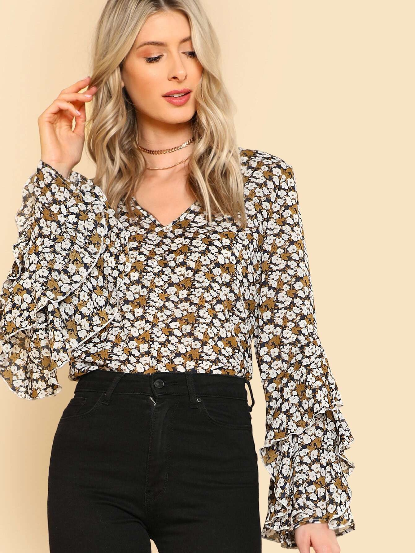 Layered Ruffle Detail Floral Top patchwork ruffle detail top