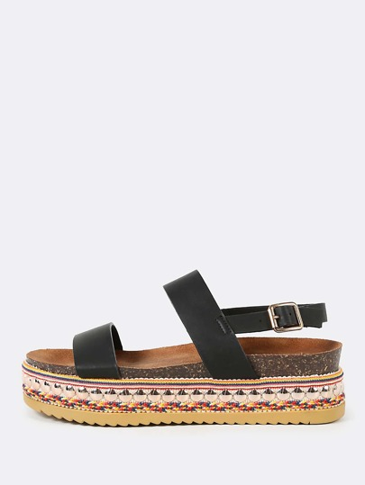 Double Band Slingback Decorated Flatform Sandal BLACK