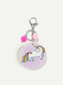 Random Color Ball Unicorn Round Keychain