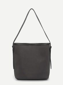 Faux Leather Tote Bag With Inner Pouch