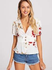 Button Front Floral Top