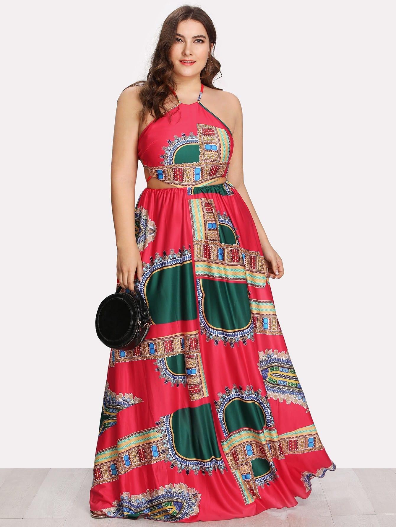 Ornate Print Lace Up Backless Dress butterfly print lace up slip dress